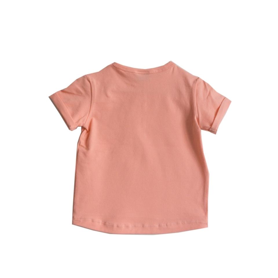 T-shirt CHAOS! zalm roze achterkant
