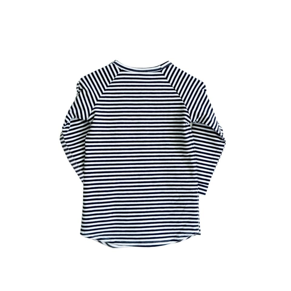 Shirt longline zwart gestreept achterzijde