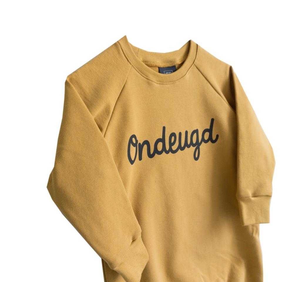 Sweaterjurk Ondeugd oker geel close-up