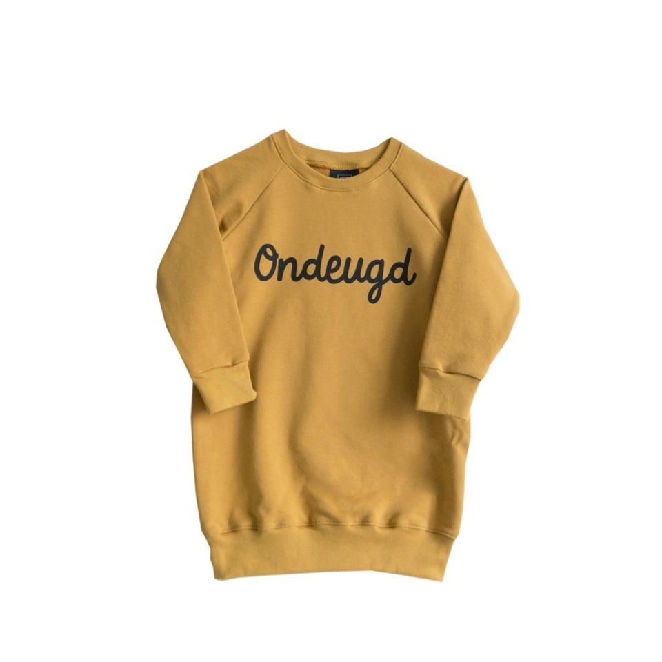 Sweaterjurk Ondeugd oker geel voorkant