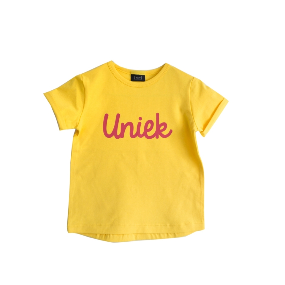 T-shirt Uniek geel voorkant