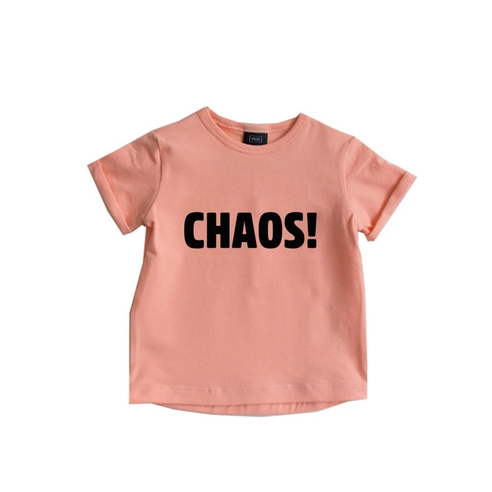T-shirt CHAOS! zalm roze voorkant