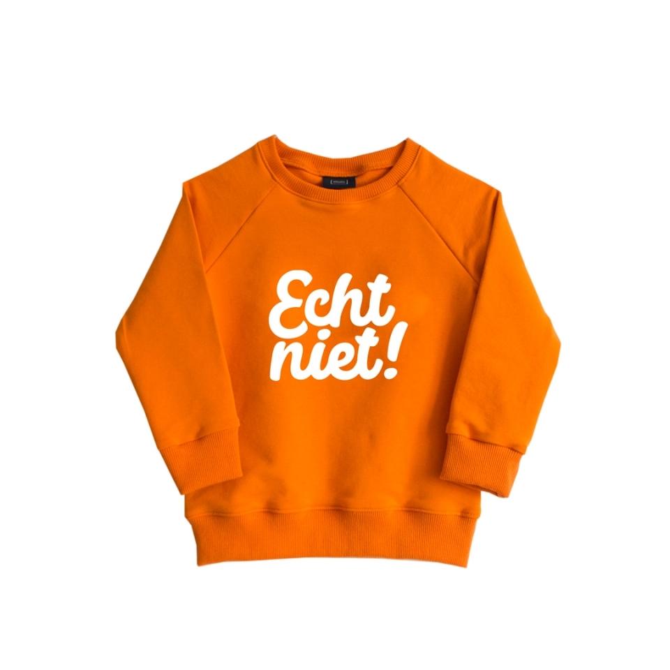 Sweater Echt Niet oranje (86/92) voorkant